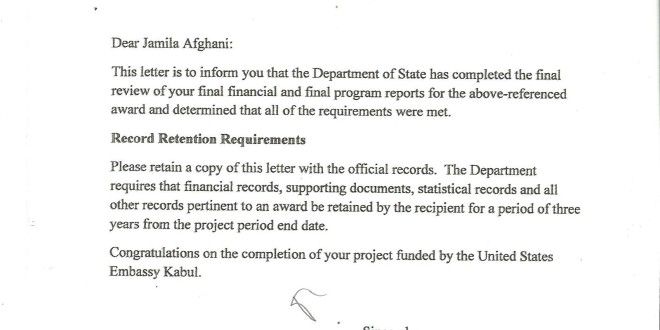 Letter of successful completion of the project by us embassy noor letter of successful completion of the project by us embassy altavistaventures Choice Image